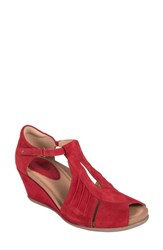Earth 'S Primrose Wedge Sandal Bright Red Suede