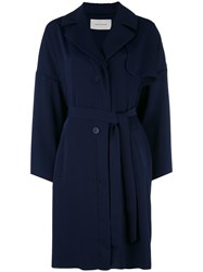 Cedric Charlier Double Breasted Coat Blue