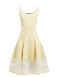 Alexander Mcqueen Panelled Stretch Knit Midi Dress Light Yellow