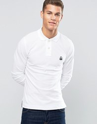 United Colors Of Benetton Long Sleeve Pique Polo Shirt In Muscle Fit White 101