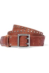 Rag And Bone Willow Tudded Leather Belt Light Brown