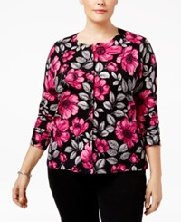 Karen Scott Plus Size Printed Cardigan Deep Black Combo