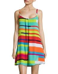 J Valdi Pleated Striped Cover Up Dress Multi