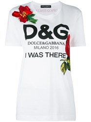 Dolce And Gabbana Floral Logo Print T Shirt White