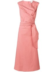 Alysi Crossover Detail Midi Dress Pink