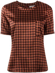 Ganni Checked Blouse Red