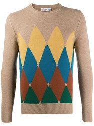Ballantyne Geometric Print Jumper Brown