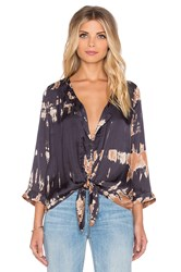 Gypsy 05 3 4 Sleeve Tie Front Top Blue