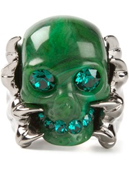 Alexander Mcqueen Claw Skull Cocktail Ring Green
