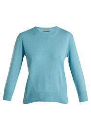 Bottega Veneta Ribbed Crew Neck Cashmere Sweater Blue