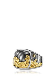 David Yurman Waves Signet Gold And Silver Ring