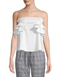 Lea And Viola Smocked Ruffled Top White