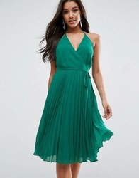 Asos Cami Pleated Dress Emerald Green