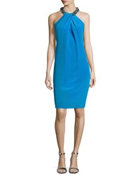 Carmen Marc Valvo Cocktail Dress With Beaded Halter Neckline Turquoise