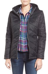 Women's Guess Hooded Packable Quilted Jacket Black