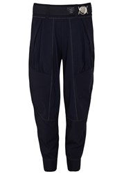 High Equip Navy Cropped Jersey Jogging Trousers