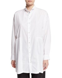 Eskandar Long Double Collar Shirt White