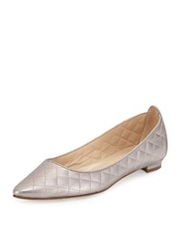 Abat Quilted Pointed Toe Flat Pewter Manolo Blahnik Silver