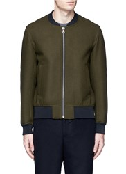 Tomorrowland Wool Felt Bomber Jacket Green