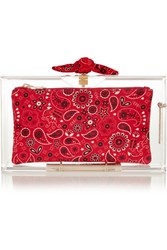 Charlotte Olympia Bandana Pandora Perspex Clutch Red