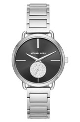 Michael Michael Kors Women's Portia Round Bracelet Watch 36.5Mm Silver Black