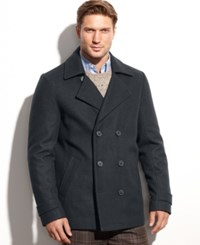 Calvin Klein Wool Blend Double Breasted Pea Coat