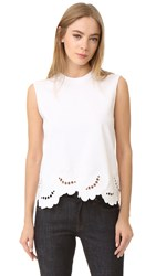 Victoria Beckham Embroidered Sleeveless Tee White