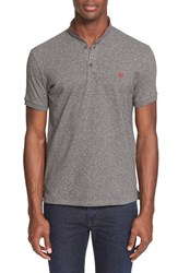 Men's The Kooples Pipe Trim Band Collar Polo Grey