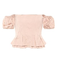 Brock Collection Off The Shoulder Cotton Blend Top Pink