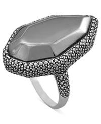 Genevieve And Grace Sterling Silver Ring Marcasite Marquise Shape Ring