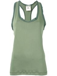 Semicouture Tonal Detail Racerback Tank Women Cotton Viscose 38 Green