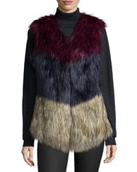 Cusp By Neiman Marcus Colorblock Faux Fur Vest Multi Colors Tri Color