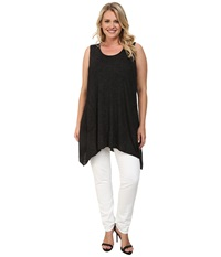 Allen Allen Plus Size Angled Tank Top Black Women's Sleeveless