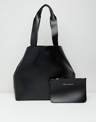 French Connection Tote Handbag With Zip Purse Black