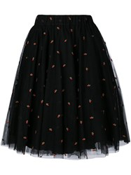 P.A.R.O.S.H. Cherry Embroidered Tulle Gathered Skirt Women Polyamide Polyester Acetate Viscose S Black