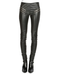 Saint Laurent Leather Zip Pocket Leggings Black