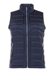 Gant Light Weight Down Quilted Vest With Zip Pockets Blue
