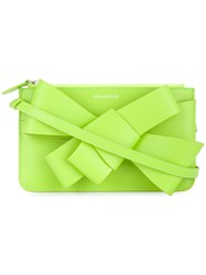 Delpozo Asymmetric Bow Clutch Calf Leather Green