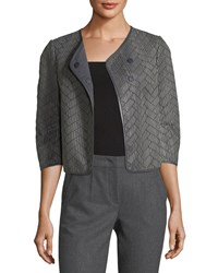 Emporio Armani Leather Woven Crop Jacket Gray