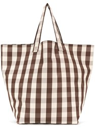 Trademark Large Gingham Grocery Tote Brown