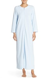 Women's Carole Hochman Designs Waffle Knit Zip Robe Blue