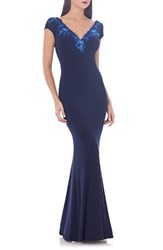 Js Collections Women's Jersey Mermaid Gown Navy