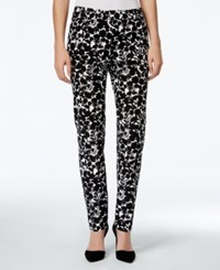 Charter Club Petite Printed Slim Fit Ankle Pants Only At Macy's Deep Black Combo
