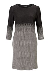 James Lakeland Micro Degrade 3 4 Sleeve Dress Black