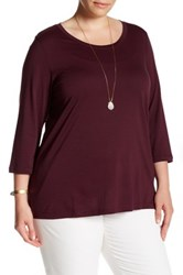 Susina 3 4 Length Sleeve Scoop Neck Tee Plus Size Red