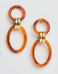 Gogo Philip Resin Hoop Link Earrings Brown
