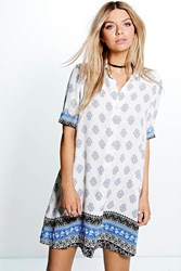 Boohoo Paisley Border Print Shirt Dress Blue