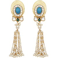 Carousel Jewels Turquoise And Pearl Statement Long Earrings White Blue Gold