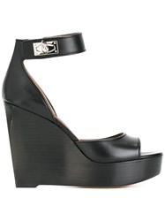 Givenchy Lock Strap Wedge Heels Black