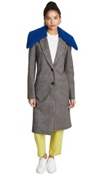 Tibi Labcoat With Removable Faux Fur Collar Grey Blue Multi